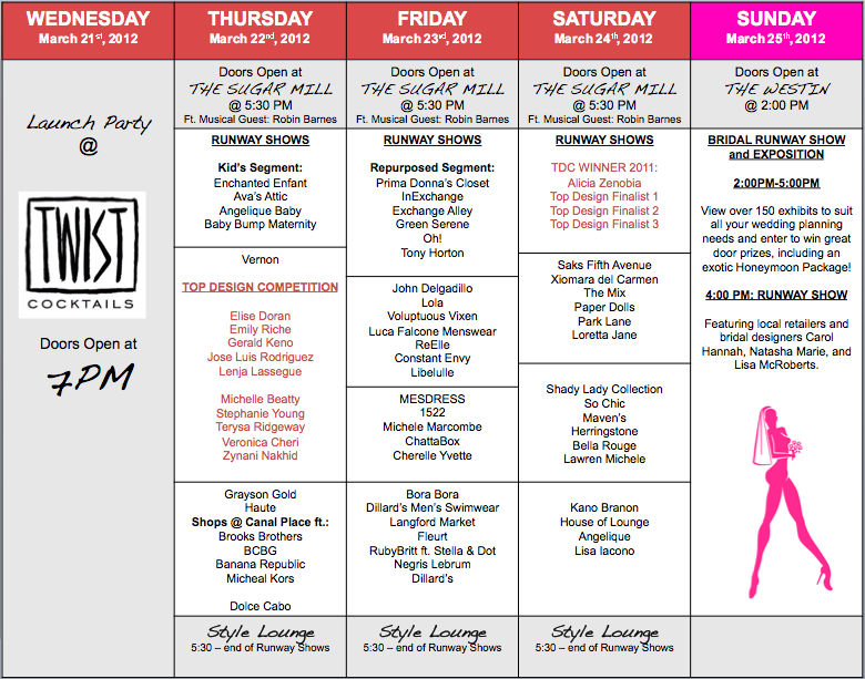 Fashion Week New Orleans Schedule Slow Southern Style
